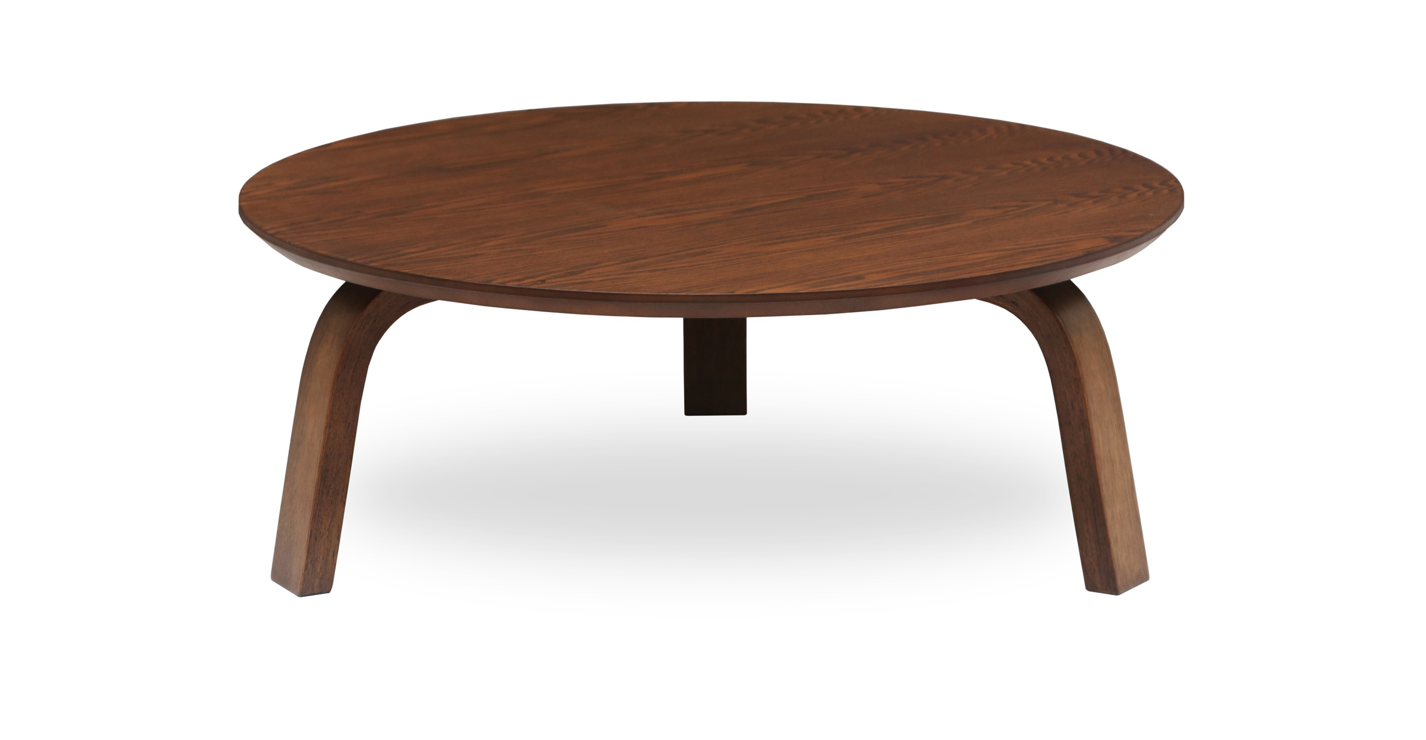 Nes Cocoa Wood Round Coffee Table Coffee Tables Bryght Modern Mid Century And