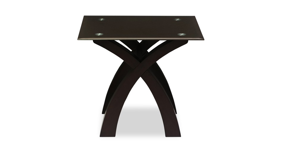 Nicolas Brown Glass Light Cappuccino End Table