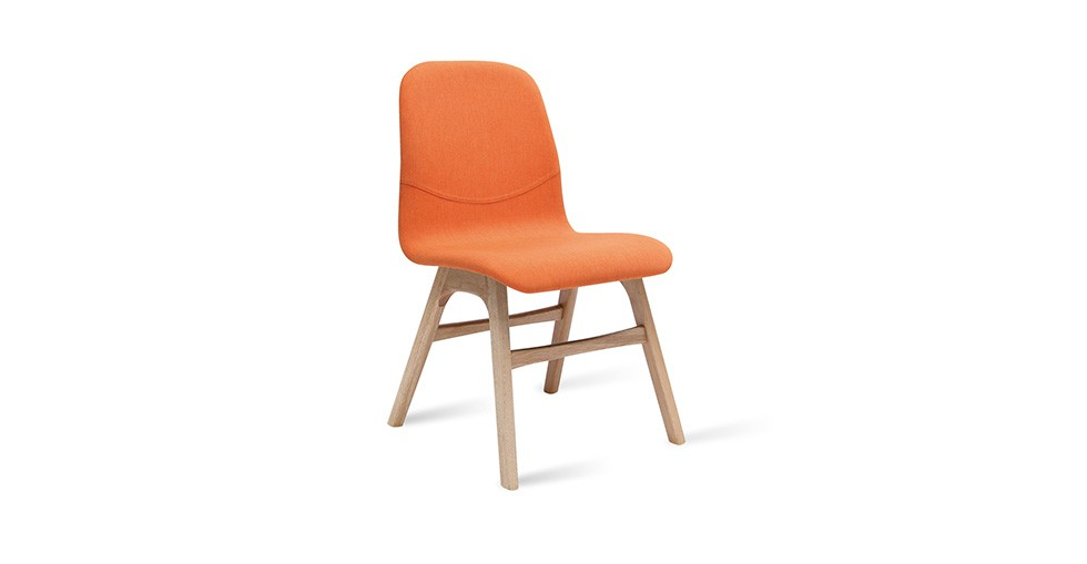 Ava Tangerine Fabric Oak Dining Chair