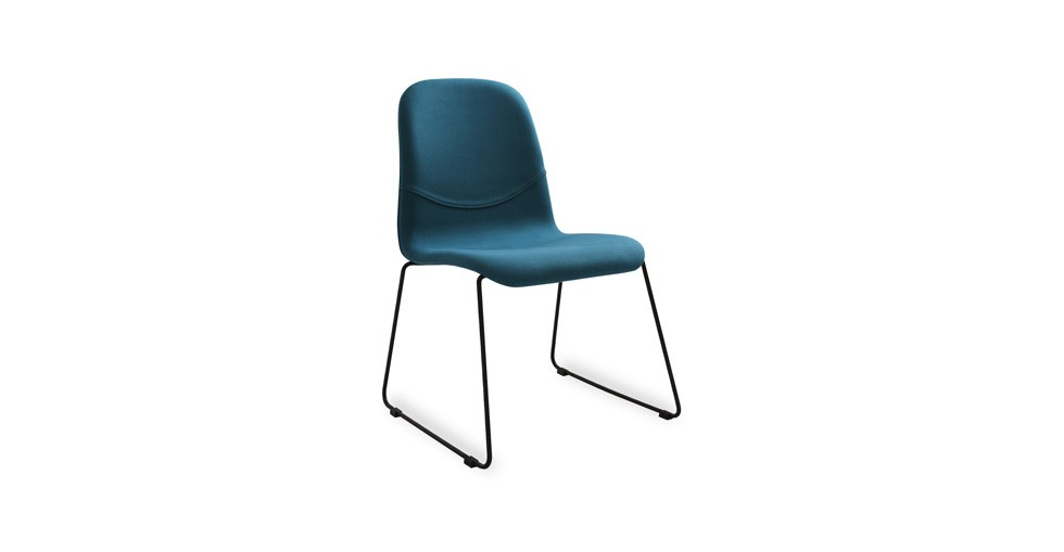 Ava Teal Fabric Metal Dining Chair