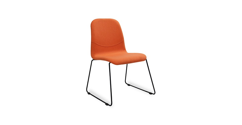 Ava Tangerine Fabric Metal Dining Chair