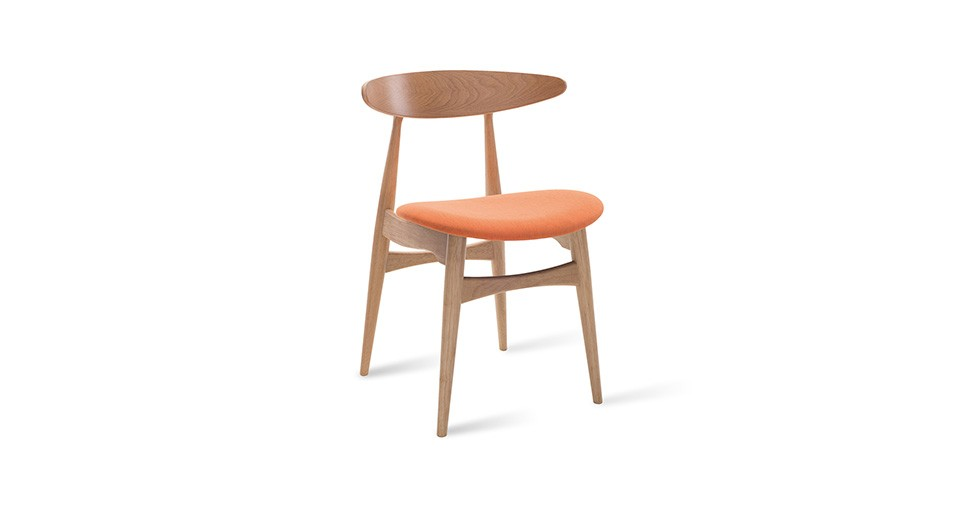 Tricia Tangerine Fabric Oak Dining Chair
