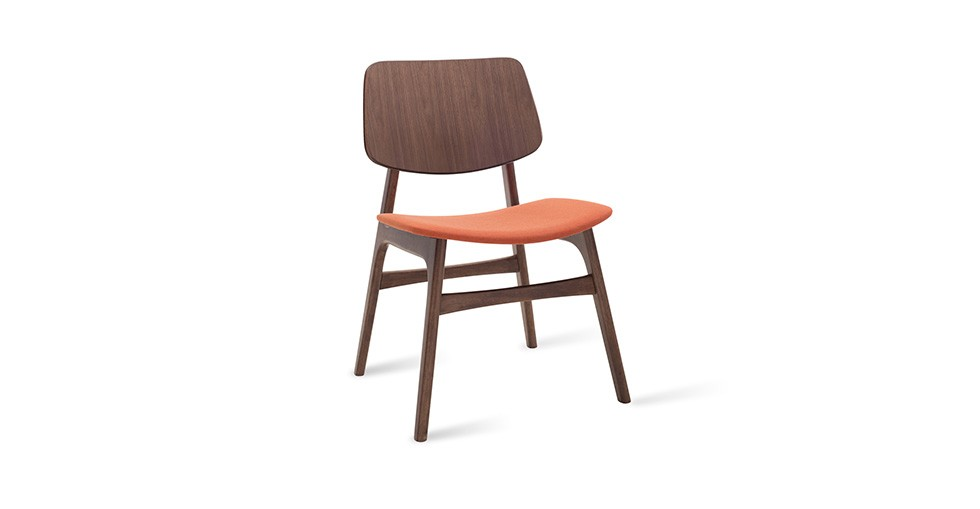 Margo Carrot Fabric Walnut Dining Chair