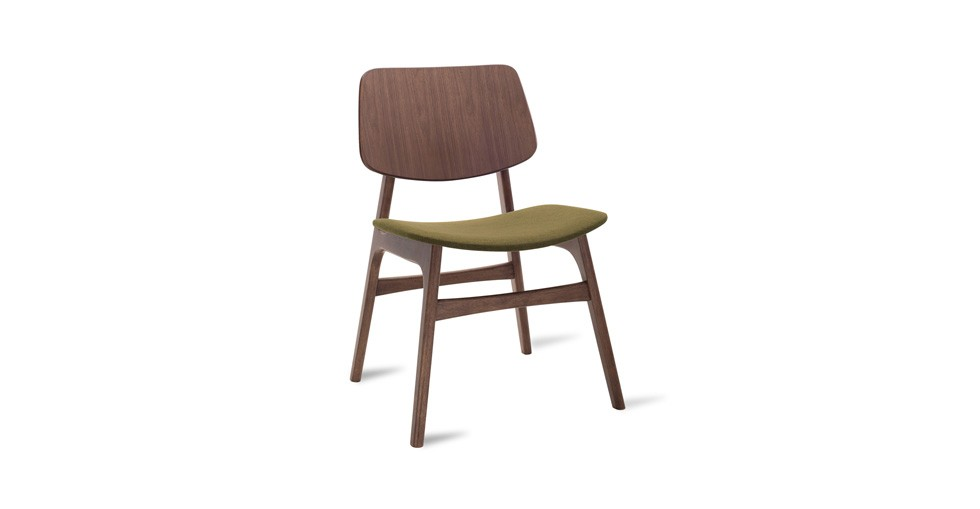 Margo Olive Fabric Walnut Dining Chair