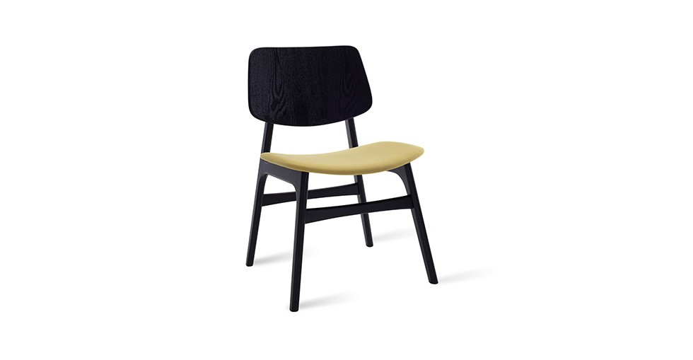 Margo Pistachio Fabric Black Dining Chair