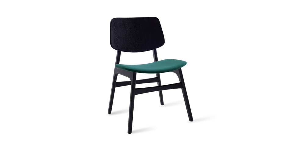 Margo Clover Fabric Black Dining Chair