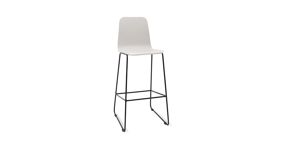 Ava White Metal Bar Stool