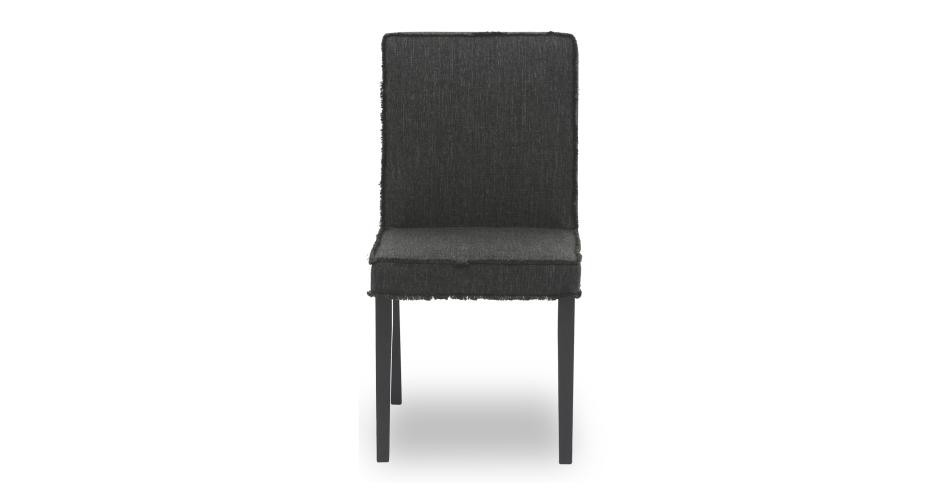 Cube Liquorice Fabric Upholstered Ebony Dining Chair