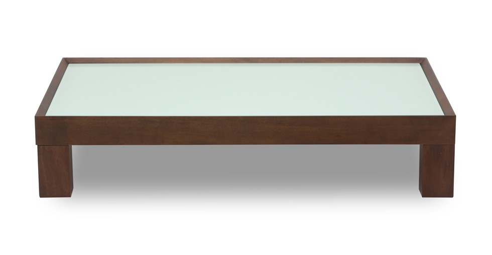 Evan White Glass Cocoa Coffee Table